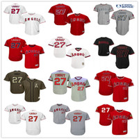 achat en gros de anges anaheim jersey xxl-Los Angeles Angels of Anaheim # 27 Mike Trout White Pull Down Red Fashion Stars Gris Beige Army Green LA Stitched MLB Baseball Jerseys Vente