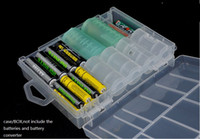Wholesale 5pcs Home Organization box Bins PP Multi function AAA AA C D V Battery Case Container Holder Hard Plastic battery cell Storage Box Racks