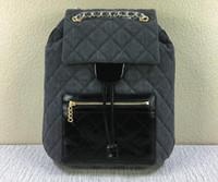 Wholesale Original Quality Women A Denim Leather Backpack School Bags Gold Chains Zip pocket Front Silt Pocket Back