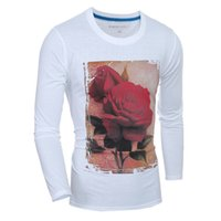 Wholesale Mens long sleeved t shirt pullover cotton blend o neck fashion slim ultra clear D stereo rose printing