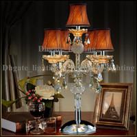 al por mayor mesa moderna habitación lámparas-Lámpara de mesa moderna lámpara de mesa LED mesa Lámparas de vela moderno Cristal mesa de iluminación de vidrio brazos de boda candelabros sala de estar llevó lámpara de escritorio