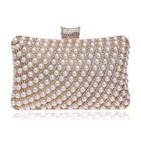 Los bolsos vendedores al por mayor-Calientes de las mujeres rebordearon los monederos de los monederos de los Rhinestones Señora del mensajero Pearl Diamonds Clutches Bags