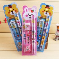 Pencils YES as pic Wholesale - Practical children stationery suit children's birthday gift school supplies children's prize pencil sharpener rubber set IA015