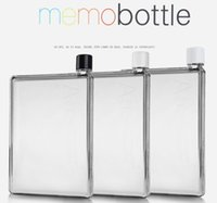 Wholesale 2pcs high quality Memobottle Clear A5 Memo Book Paper Bottle Flat Portable Water Bottle Cup Kettle