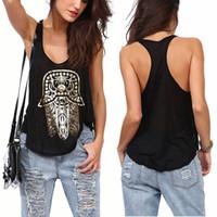 Wholesale Hot Women Gold Hamsa Hand Print Vest Tops Loose Sleeveless Tanks Punk Tops