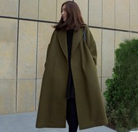 Wholesale Woolen coat female long section autumn and winter Korean version of large yards loose knee wool cashmere coat thickening