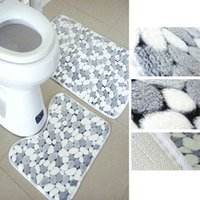 bathroom pedestals - Washable Stone Grain Bathroom Floor Mats Bath Pedestal Non Slip Room Comfy Carpet Mat set cm