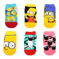al por mayor muchachos jóvenes cortos-New Fashion American Los Simpson Shaun The Shee Anime Cartoon Unisex Young Boys Niñas de algodón de color corto Tube Socks