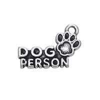 Wholesale 2017 fashion antique silver plated dog person paw print charm jewelry accessory