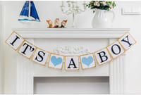 Wholesale It s a Girl Boy Baby Shower Banner Bunting Garland Rustic Letter Baby Shower Party Decoration Accessories Supply