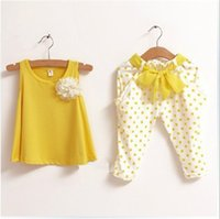 achat en gros de shirt point jaune-Vente en gros - 1PCS Retail 2-7Y Kids Summer Sets Jaune / Vert / Rouge 100% coton Polka Dot Filles d'été pour femmes T-shirt sans manches + pantalons