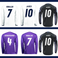 Wholesale New Long Sleeve Madrid Jersey Third Black Purple Ronaldo Jersey Real Ronaldo Bale James Kroos Sergio Ramos Rugby Shirts Kits