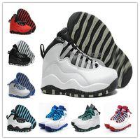 Con los zapatos de baloncesto para hombre retros 10 de la caja los zapatos azules rojos blancos de OVO X del hombre salta los zapatos de Atheletic del hombre que entrenan la alta calidad que envía libremente US8-13