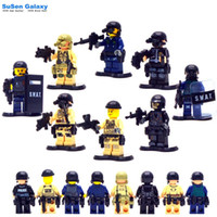 Wholesale 8pcs SWAT Heavy Fire Special Weapons And Tactics Kid Baby Toy Mini Figure Building Blocks Sets Model Toys Minifigures Brick