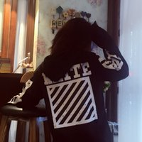 basic hoodie - high quality New off ow basic models white oblique stripes letters cotton hoodie coat and loose