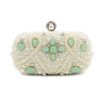 women wedding clutch bag big head phones - New Style Fashion Pearl Evening Bag Colored Beaded Flower Clutch Bag Big Pearl Head Hand Bag Chain Purses Wallet S375
