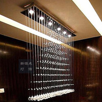 Wholesale Modern Design Crystal Light Pendant Lamp Suspension Lighting Rain Drop Curtain Lustre Hanging Square Lamp