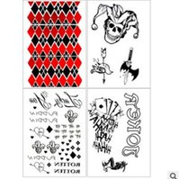 Wholesale Suicide Squad Harley Quinn Cosplay Small Ugly Tattoo Stickers Baseball Bat Poker Temporary Tattoos Halloween Party Christmas Toys Gifts