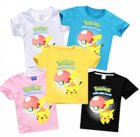 Wholesale Kids poke go Short Sleeve T Shirts Pikachu Cartoon Tees Kids Girls Boys poke tops Toddler poke ball T shirts LJJK551