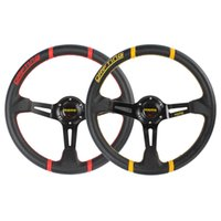accessories competitions - Genuine Leather Momo Competition inch Aluminum Deep Dish Car Steering Wheel Yellow Red Interior Accessories CDE_406