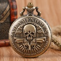 Wholesale Cool Vine ND Amendment Defending Since Vine Pocket Watch Necklace Pendant Chain for Men Boy Gift Reloj De Bolsillo