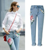 Wholesale Unique New Fashion jeans for women jeans Loose with Chinese Embroidery D Rose Flowers Plus Size Jeans Womens Clothes