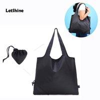 alternative bags - Fashion Foldable Supermarket Shopping Bag Balck color Nylon Reusable Shopping Bags alternative advertisement bags gift bag