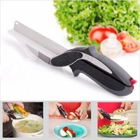 Wholesale 2 in Stainless Steel Vegetables knives Kitchen knife Smart Cutter Knife With Cutting Board Kitchen Scissor CCA5485