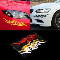 Wholesale 19CM CM Universal Car Sticker Styling Engine Hood Motorcycle Decal Decor Mural Vinyl Covers Accessories Auto Flame Fire Hot Selling