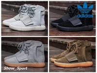 achat en gros de lumières bottes-Adidas Basketball Shoes Yeezy 750 Boost Pirate Black Light Grey Gum Brown Hommes Kanye West Chaussures Sports Yeezys Mode Yezzy YZY Sneaker Boot