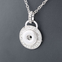 american power metal - Fashion Metal Snap Necklace Metal Round Crystal Elegant Length CM fit MM Snap Buttons Jewlery Women ZG010