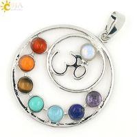 Wholesale CSJA Hot SALE Chakras Reiki Stones Pendants Health Amulet Healing Chakra D Symbols Stone Charms Pendant Fit Necklace E024