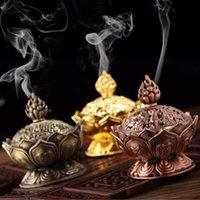 Saint Lotus tibétain conçu encens brûleur alliage de zinc Bronze mini encens brûleur artisanat en métal Décoration intérieure 3 couleurs
