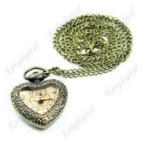 Wholesale Vine Carving Bronze Heart Shape Quartz Pocket Watch Necklace Chain Pendant