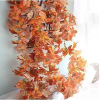 autumn leaves garland - hot selling cm autumn maple leaves garland silk flowers artificial decorative flowers for home wedding market decoration