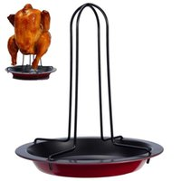 Wholesale Chicken Roaster Rack With Bowl Tin Non stick Cooking Tools Baking Pan Barbecue Grilling BBQ Accessories