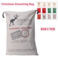 Wholesale 2017 Christmas Large Canvas Monogrammable Santa Claus Drawstring Bag With Reindeers Monogramable Christmas Gifts Sack Bags OTH319