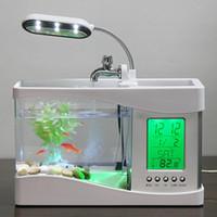 Wholesale Usb Mini Fish Tank Desktop Electronic Aquarium Mini Fish Tank with Water Running LED Pump Light Calendar Clock White Black