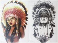 ancient warriors - set Tattoo Ancient women Indian Chief girl warrior with Feathers hat Waterproof Temporary Tattoo Stickers