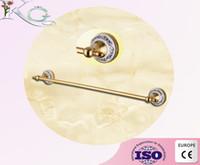 Wholesale Gold finished Brass Wall Mounted Bathroom Single Towel Rail Holder Rack towel Bar carve towel ring
