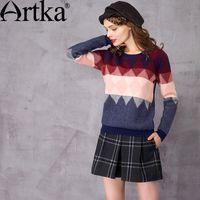 artka fashion - Artka Women s Autumn New Loose Style Jarquard Sweater Fashion O Neck Long Sleeve Comfy All match Knitwear YB12861Q