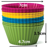 Wholesale Holesales Set of Pieces dozen Round Shaped Silicon Cake Baking Molds Jelly Mold Silicon Cupcake Pan Muffin Cup