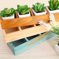 Wholesale YUMU Morden Style Decorative Solid Wood Succulent Pots Small Planter Garden Ware
