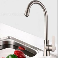 Wholesale Brushed Kitchen Faucets sink basin Tap Mixer tap Copper core Cold hot water Single Hole faucet basin Waterfall Spout Homeuse Quality