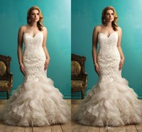 Wholesale Vintage Lace Plus Size Wedding Dresses Mermaid Style Ruffles Tiered Sweetheart Sexy Open Back Wedding Party Dress Bridal Gowns