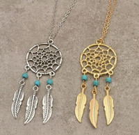 antique pearl pendant - New arrival statement necklaces hot dreamcatcher antique silver necklace Turquoise wings feather long pendant necklace for women Xmas gift