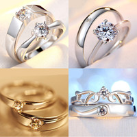 Wholesale Silver Plated Couple Rings For Women bijoux Fashion Crystal Wedding Jewelry anel masculino Couple Rings For Lovers