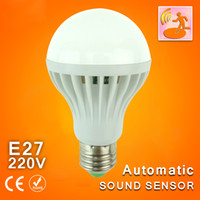 220V automatic room light - Led Bulb W W W Sound Light Control E27 led lamp V Auto Smart Detection Voice automatic Activated Intelligent LED Sensor Lamp Light