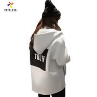 Acheter Coton ouaté korean veste de baseball-Grossiste Femmes Grandes Tailles Loose 2017 Automne Femme Veste 3D Impression Coréenne Style Longue Manche Show Slim Hoodies Uniforme De Baseball