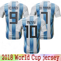 e2da9db58 New 2018 World Cup Argentina home soccer Jersey 18 19 MESSI DI MARIA AGUERO thai  quality Argentina Camisas football shirts Free Shipping